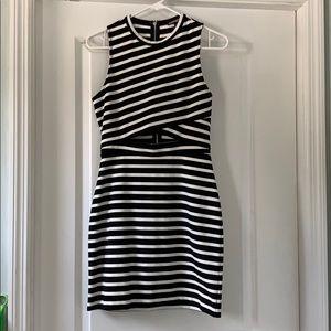 EXPRESS striped mini dress with cutout
